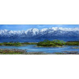 油彩画 洋画 肉筆絵画 ( 油絵額縁付きで納品対応可 ) WF6サイズ 「立山連峰と神通川」 小川 久雄|touo