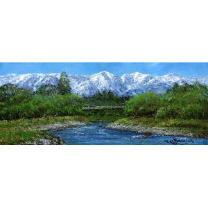 油彩画 洋画 肉筆絵画 ( 油絵額縁付きで納品対応可 ) WF6サイズ 「白馬連峰と姫川」 小川 久雄|touo