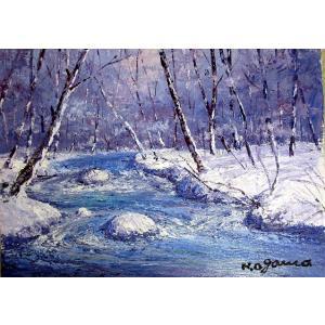 油彩画 洋画 肉筆絵画 ( 油絵額縁付きで納品対応可 ) M15号サイズ 「冬の奥入瀬1」 小川 久雄|touo