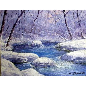 油彩画 洋画 肉筆絵画 ( 油絵額縁付きで納品対応可 ) WF6サイズ 「冬の奥入瀬2」 小川 久雄|touo