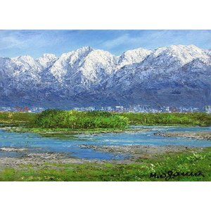 油彩画 洋画 肉筆絵画 ( 油絵額縁付きで納品対応可 ) F3号サイズ 「立山連峰」 小川 久雄|touo