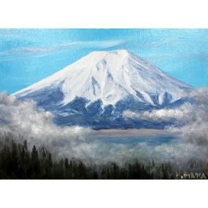 絵画 油絵 肉筆絵画 壁掛け ( 油絵額縁 アートフレーム付きで納品対応可 ) P4号サイズ 「雲上の白富士」 大山 功|touo