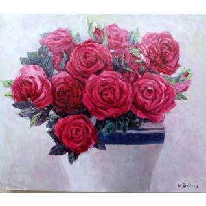 絵画 油絵 肉筆絵画 壁掛け ( 油絵額縁 アートフレーム付きで納品対応可 ) M3号サイズ 「赤バラ」 大山 功|touo