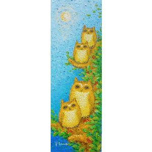 絵画 油絵 肉筆絵画 壁掛け ( 油絵額縁 アートフレーム付きで納品対応可 ) WSMサイズ 「コノハズク2」 佐野 千恵子|touo