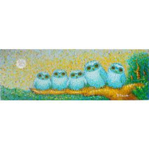 絵画 油絵 肉筆絵画 壁掛け ( 油絵額縁 アートフレーム付きで納品対応可 ) WSMサイズ 「福ふくろう」 佐野 千恵子|touo