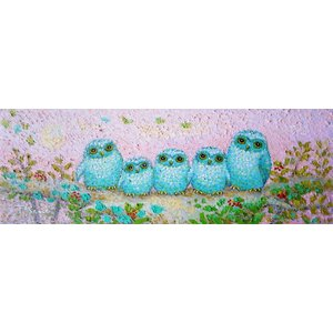 絵画 油絵 肉筆絵画 壁掛け ( 油絵額縁 アートフレーム付きで納品対応可 ) WSMサイズ 「祝ふくろう」 佐野 千恵子|touo