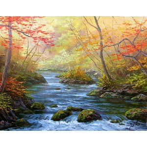 油彩画 洋画 肉筆絵画 ( 油絵額縁付きで納品対応可 ) WF6サイズ 「奥入瀬渓流(秋)」 関 健造|touo