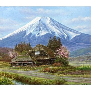 絵画 油絵 肉筆絵画 壁掛け ( 油絵額縁 アートフレーム付きで納品対応可 ) P12号サイズ 「忍野富士」 関 健造|touo