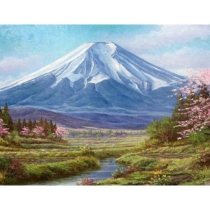 油彩画 洋画 肉筆絵画 ( 油絵額縁付きで納品対応可 ) F3号サイズ 「富士」 関 健造|touo