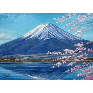 絵画 油絵 肉筆絵画 壁掛け ( 油絵額縁 アートフレーム付きで納品対応可 ) WF3サイズ 「富士と桜」 関 健造|touo