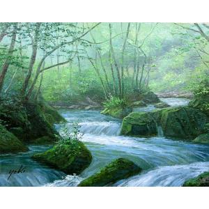 油彩画 洋画 肉筆絵画 ( 油絵額縁付きで納品対応可 ) M15号サイズ 「奥入瀬渓流」 関 健造|touo