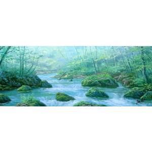 絵画 油絵 肉筆絵画 壁掛け ( 油絵額縁 アートフレーム付きで納品対応可 ) WF3サイズ 「奥入瀬渓流」 関 健造|touo