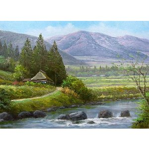 絵画 油絵 肉筆絵画 壁掛け ( 油絵額縁 アートフレーム付きで納品対応可 ) M6号サイズ 「山村清流1」 関 健造|touo
