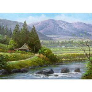 絵画 油絵 肉筆絵画 壁掛け ( 油絵額縁 アートフレーム付きで納品対応可 ) WF3サイズ 「山村清流1」 関 健造|touo