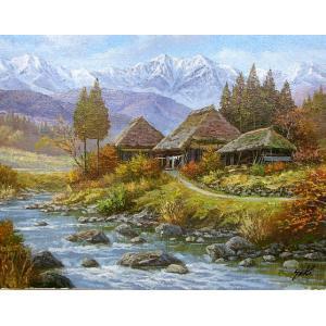 油彩画 洋画 肉筆絵画 ( 油絵額縁付きで納品対応可 ) WF6サイズ 「山村清流2」 関 健造|touo