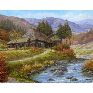 絵画 油絵 肉筆絵画 壁掛け ( 油絵額縁 アートフレーム付きで納品対応可 ) WF3サイズ 「山村清流3」 関 健造|touo