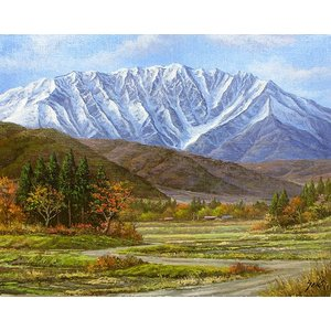 油彩画 洋画 肉筆絵画 ( 油絵額縁付きで納品対応可 ) M15号サイズ 「大山」 関 健造|touo