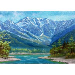 絵画 油絵 肉筆絵画 壁掛け ( 油絵額縁 アートフレーム付きで納品対応可 ) P3号サイズ 「上高地1」 関 健造|touo
