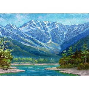 絵画 油絵 肉筆絵画 壁掛け ( 油絵額縁 アートフレーム付きで納品対応可 ) WF3サイズ 「上高地1」 関 健造|touo