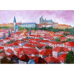 油彩画 洋画 肉筆絵画 ( 油絵額縁付きで納品対応可 ) WF6サイズ 「プラハ」 島本 良平|touo