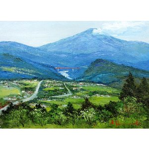 油彩画 洋画 肉筆絵画 ( 油絵額縁付きで納品対応可 ) F3号サイズ 「木曽路 恵那山」 島本 良平|touo