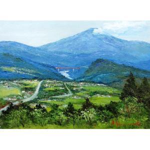 油彩画 洋画 肉筆絵画 ( 油絵額縁付きで納品対応可 ) M15号サイズ 「木曽路 恵那山」 島本 良平|touo