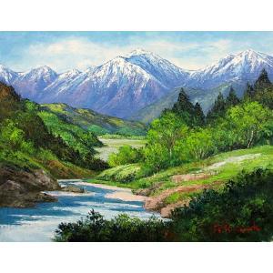 絵画 油絵 肉筆絵画 壁掛け ( 油絵額縁 アートフレーム付きで納品対応可 ) P15号サイズ 「常念岳」 島本 良平|touo