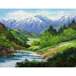 絵画 油絵 肉筆絵画 壁掛け ( 油絵額縁 アートフレーム付きで納品対応可 ) P8号サイズ 「常念岳」 島本 良平|touo