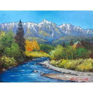 油彩画 洋画 肉筆絵画 ( 油絵額縁付きで納品対応可 ) WF6サイズ 「白馬山麓」 島本 良平|touo