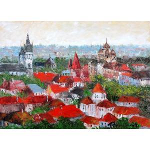 絵画 油絵 肉筆絵画 壁掛け ( 油絵額縁 アートフレーム付きで納品対応可 ) M4号サイズ 「タリン(エストニア)」 島本 良平 touo