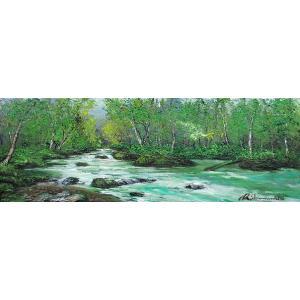 絵画 油絵 肉筆絵画 壁掛け ( 油絵額縁 アートフレーム付きで納品対応可 ) WF3サイズ 「奥入瀬2」 島本 良平|touo