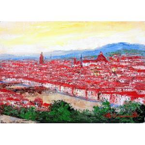 油彩画 洋画 肉筆絵画 ( 油絵額縁付きで納品対応可 ) M15号サイズ 「フィレンツェ」 島本 良平|touo
