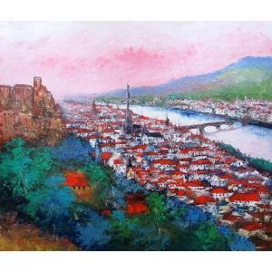 油彩画 洋画 肉筆絵画 ( 油絵額縁付きで納品対応可 ) F3号サイズ 「ハイデルベルグ」 島本 良平|touo