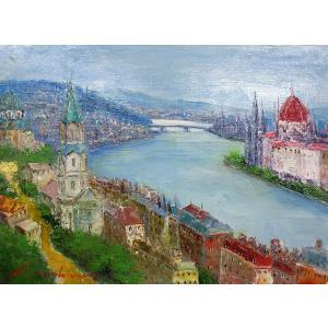 油彩画 洋画 肉筆絵画 ( 油絵額縁付きで納品対応可 ) F3号サイズ 「ブタペスト(ハンガリー)」 島本 良平|touo