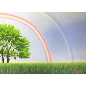 油彩画 洋画 肉筆絵画 ( 油絵額縁付きで納品対応可 ) M15号サイズ 「虹のある風景1」 白鳥あゆみ|touo