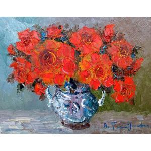 絵画 油絵 肉筆絵画 壁掛け ( 油絵額縁 アートフレーム付きで納品対応可 ) F15号サイズ 「赤薔薇」 谷口春彦|touo