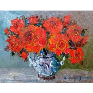 絵画 油絵 肉筆絵画 壁掛け ( 油絵額縁 アートフレーム付きで納品対応可 ) M4号サイズ 「赤薔薇」 谷口春彦 touo