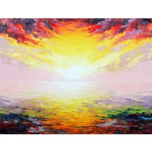 絵画 油絵 肉筆絵画 壁掛け ( 油絵額縁 アートフレーム付きで納品対応可 ) M4号サイズ 「朝焼け」 谷口春彦 touo