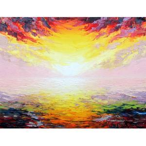 絵画 油絵 肉筆絵画 壁掛け ( 油絵額縁 アートフレーム付きで納品対応可 ) M8号サイズ 「朝焼け」 谷口春彦|touo