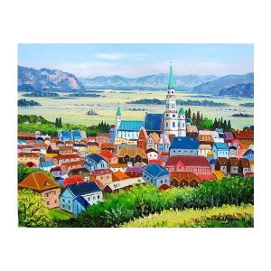 油彩画 洋画 肉筆絵画 ( 油絵額縁付きで納品対応可 ) F3号サイズ 「アルザス リックビル」 羽沢 清水|touo