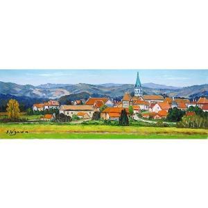 絵画 油絵 肉筆絵画 壁掛け ( 油絵額縁 アートフレーム付きで納品対応可 ) WF3サイズ 「ぺリゴールの村」 羽沢 清水|touo