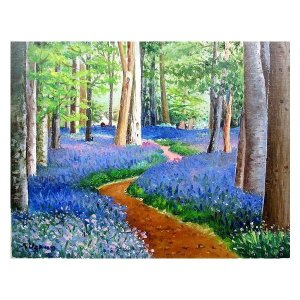 絵画 油絵 肉筆絵画 壁掛け ( 油絵額縁 アートフレーム付きで納品対応可 ) P12号サイズ 「ブルーベルの森」 羽沢 清水|touo