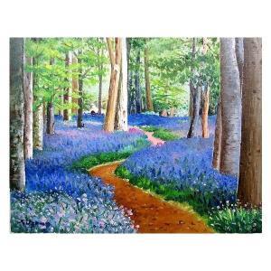絵画 油絵 肉筆絵画 壁掛け ( 油絵額縁 アートフレーム付きで納品対応可 ) P4号サイズ 「ブルーベルの森」 羽沢 清水|touo