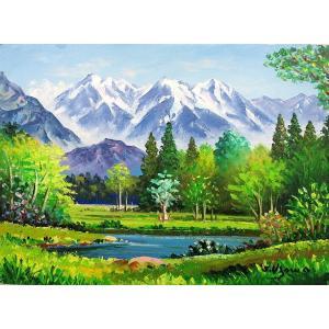 絵画 油絵 肉筆絵画 壁掛け ( 油絵額縁 アートフレーム付きで納品対応可 ) M6号サイズ 「上高地」 羽沢 清水|touo