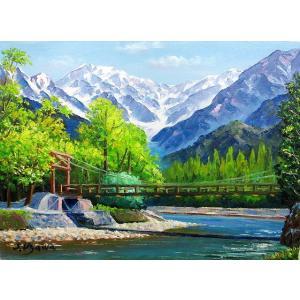 絵画 油絵 肉筆絵画 壁掛け ( 油絵額縁 アートフレーム付きで納品対応可 ) WF3サイズ 「河童橋」 羽沢 清水|touo