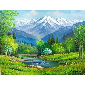 絵画 油絵 肉筆絵画 壁掛け ( 油絵額縁 アートフレーム付きで納品対応可 ) P4号サイズ 「八ヶ岳」 羽沢 清水|touo