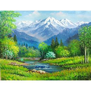 絵画 油絵 肉筆絵画 壁掛け ( 油絵額縁 アートフレーム付きで納品対応可 ) WF3サイズ 「八ヶ岳」 羽沢 清水|touo