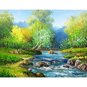 絵画 油絵 肉筆絵画 壁掛け ( 油絵額縁 アートフレーム付きで納品対応可 ) P15号サイズ 「奥入瀬渓流」 羽沢 清水|touo