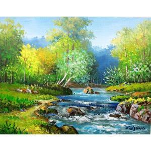 絵画 油絵 肉筆絵画 壁掛け ( 油絵額縁 アートフレーム付きで納品対応可 ) P3号サイズ 「奥入瀬渓流」 羽沢 清水|touo