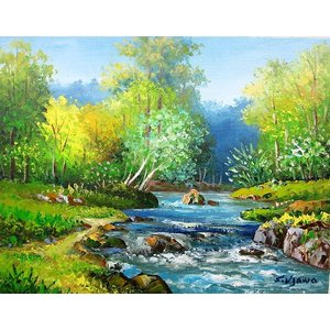 絵画 油絵 肉筆絵画 壁掛け ( 油絵額縁 アートフレーム付きで納品対応可 ) WF3サイズ 「奥入瀬渓流」 羽沢 清水|touo